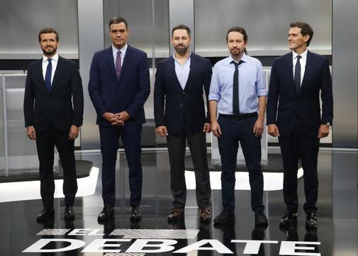 De izqda. a dcha., Pablo Casado (PP), Pedro Sánchez (PSOE), Santiago...