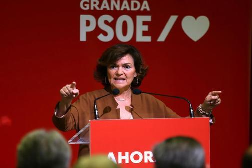 Carmen Calvo, en un acto del PSOE celebrado el pasado domingo en...