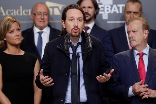 Pablo Iglesias comparece ante la prensa al finalizar el debate...