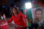Susana Díaz, en un mitin de Pedro Sánchez en Sevilla el pasado 31 de octubre.