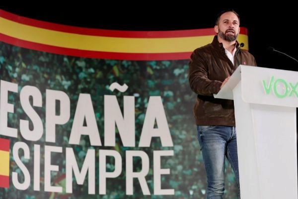 Santiago Abascal, durante un acto de Vox celebrado este martes en Dos...
