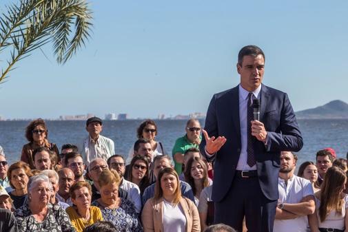 Pedro Sánchez, en un acto electoral celebrado este jueves en Los...