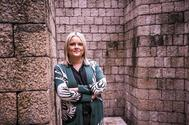 La candidata del PP por Álava Mari Mar Blanco, en la plaza de los Fueros de Vitoria.