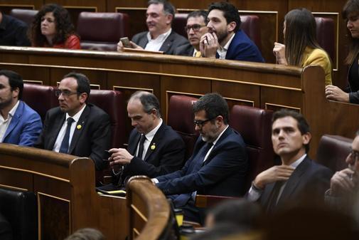 Jordi Turull, Josep Rull y Jordi Sànchez, en la sesión constitutiva...