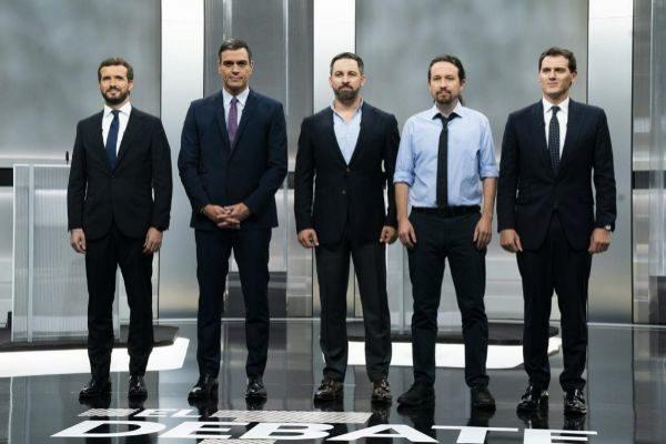 Pablo Casado, Albert Rivera, Pablo Iglesias, Santiago Abascal y Pedro...