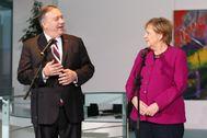 Angela Merkel y el secretario de Estado de EEUU, Mike Pompeo.