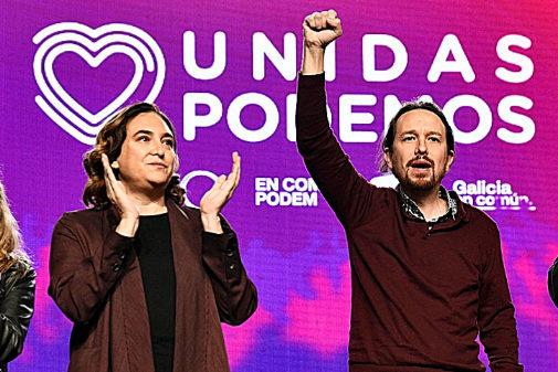 Pablo Iglesias y Ada Colau, en el cierre de campaña de Unidas Podemos...