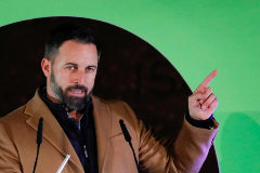 Santiago <HIT>Abascal</HIT>, leader of Spain's far-right party VOX, attends a campaign closing rally ahead of the general election, at Colon square in Madrid