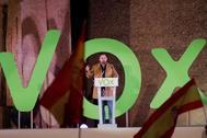 Santiago Abascal, durante el acto de cierre de campaña de Vox en Madrid.