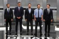 Pablo Casado, Pedro Sánchez, Santiago Abascal, Pablo Iglesias y Albert Rivera, el pasado día 4, en el debate en televisión.