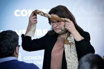 La vicepresidenta del Consell, Mónica Oltra, este viernes en rueda de prensa.