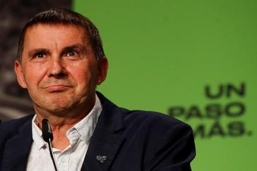 El líder de EH Bildu, Arnaldo Otegi, en un acto de campaña en San Sebastián.