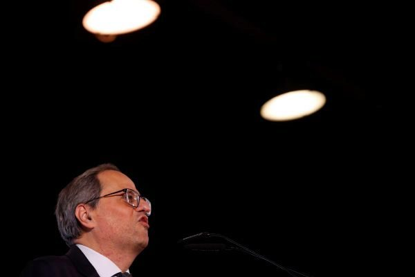 El presidente de la Generalitat, Quim Torra, en el mitin de fin...