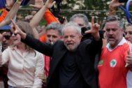 Lula, ayer, en Sao Bernardo do Campo, antes de pronunciar su discurso.