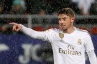 Valverde celebra su primer gol con el Real Madrid.