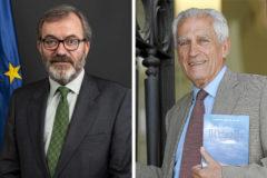 A la izquierda, el actual embajador en Berlín, Ricardo Martínez Vázquez; a la derecha, Alonso Álvarez de Toledo, embajador en la RDA cuando cayó el muro.