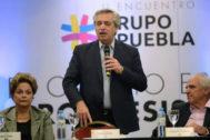 La ex presidenta brasileña Dilma Rousseff, el presidente electo argentino, Alberto Fernández y el ex presidente colombiano Ernesto Samper.