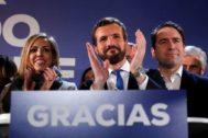 El líder del PP, Pablo Casado, en la sede del partido tras conocer los resultados de las elecciones generales.