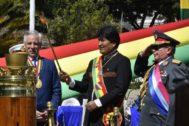 Evo Morales durante el aniversario de la Batalla de Calama.