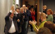 Urkullu tras Ortuzar y Esteban en la noche electoral.