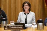 La presidenta de Navantia, Susana Sarría, durante una comparecencia en la comisión de industria del Congreso de los Diputados.