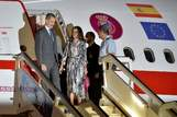 Spanish King Felipe VI (L) and Queen <HIT>Letizia</HIT> arrive at Havana's Jose Marti International Airport on November 11, 2019. - The Spanish royals are visiting Cuba for Havana's 500th anniversary. (Photo by Yamil LAGE / AFP)