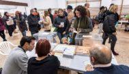 Una de las mesas electorales en las elecciones del pasado domingo instalada en el Colegio Arcángel San Rafael de Palma. ALBERTO VERA