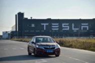 Fábrica de producción de Tesla en Shangai, China.