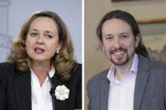 Nadia Calviño, ministra de Economía, y Pablo Iglesias, líder de Podemos.