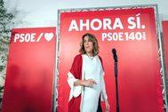 Susana Díaz sale a valorar los resultados del 10 en la noche electoral.
