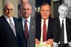 De izda. a dcha., Helmut Khol, Mijaíl Gorbachov, George Bush y Hans Modrow.