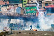 Seguidores del ex presidente boliviano Evo Morales en una marcha en La Paz.