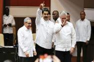 Raúl Castro, Nicolás Maduro y Miguel Díaz-Canel, en un acto en La Habana a principios de este mes.