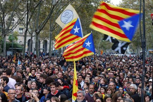 Una de las manifestaciones de independentistas celebradas en Barcelona...
