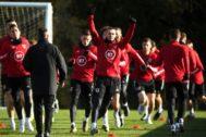Bale, durante un entrenamiento con Gales.