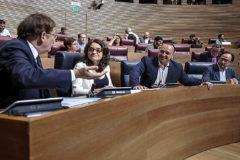Ximo Puig, Mónica Oltra, Rubén Martínez Dalmau y Vicent Soler, en las Cortes.
