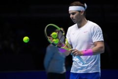 November 13, 2019 - Moscow, Russia: ATP Finals (Association of Tennis Professionals). Rafael <HIT>Nadal</HIT> of Spain during the match against Daniil Medvedev of Russia. November 13 2019. Russia, Moscow (Arata Yamaoka/Kommersant/Contacto) 14/11/2019 ONLY FOR USE IN SPAIN