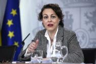 La ministra de Trabajo en funciones, Magdalena Valerio, el viernes tras el Consejo de Ministros.