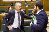 Iñigo Urkullu charla con el parlamentario del PNV Unai Grajales antes de iniciarse ayer el pleno del Parlamento vasco.