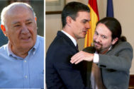 Amancio Ortega y el momento del abrazo entre Pedro Sánchez y Pablo Iglesias.