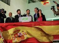 Primeras declaraciones de Santiago Abascal, en la sede de Vox, tras los resultados del 10-N