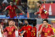 Busquets, Ramos, Cazorla, Albiol y Navas.