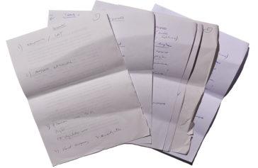 Los seis folios 'reciclados' en los que Rivera anotó las ideas fuerza de su discurso de dimisión. El periodista de 'Libertad Digital' Mariano Alonso los encontró en la sede de Ciudadanos y se los llevó a casa.