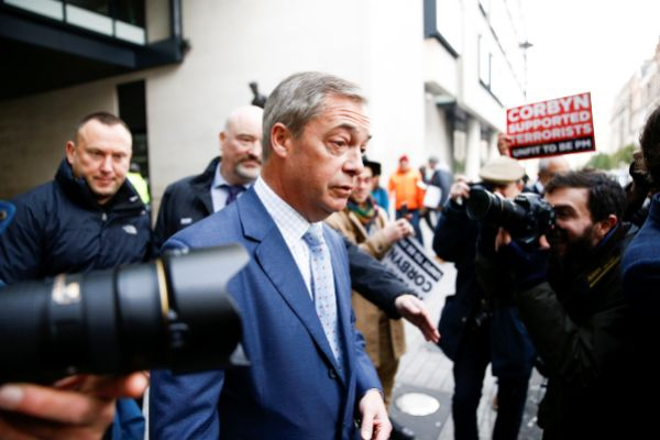 Leader of the Brexit Party Nigel <HIT>Farage</HIT> leaves the BBC...