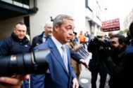 Leader of the Brexit Party Nigel <HIT>Farage</HIT> leaves the BBC Headquarters in London