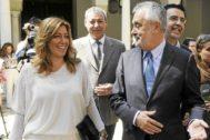 José Antonio Griñán y Susana Díaz cuando él era presidente de la Junta y ella consejera de su gobierno.