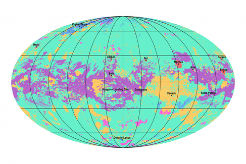 El mapa de Titán muestra las zonas de llanura (verde), las dunas (morado), montículos y zonas montañosas (naranjaI, lagos y maros (azul) y zonas kársticas (fucsia)