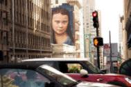 El rostro de Greta Thunberg, en un mural de San Francisco
