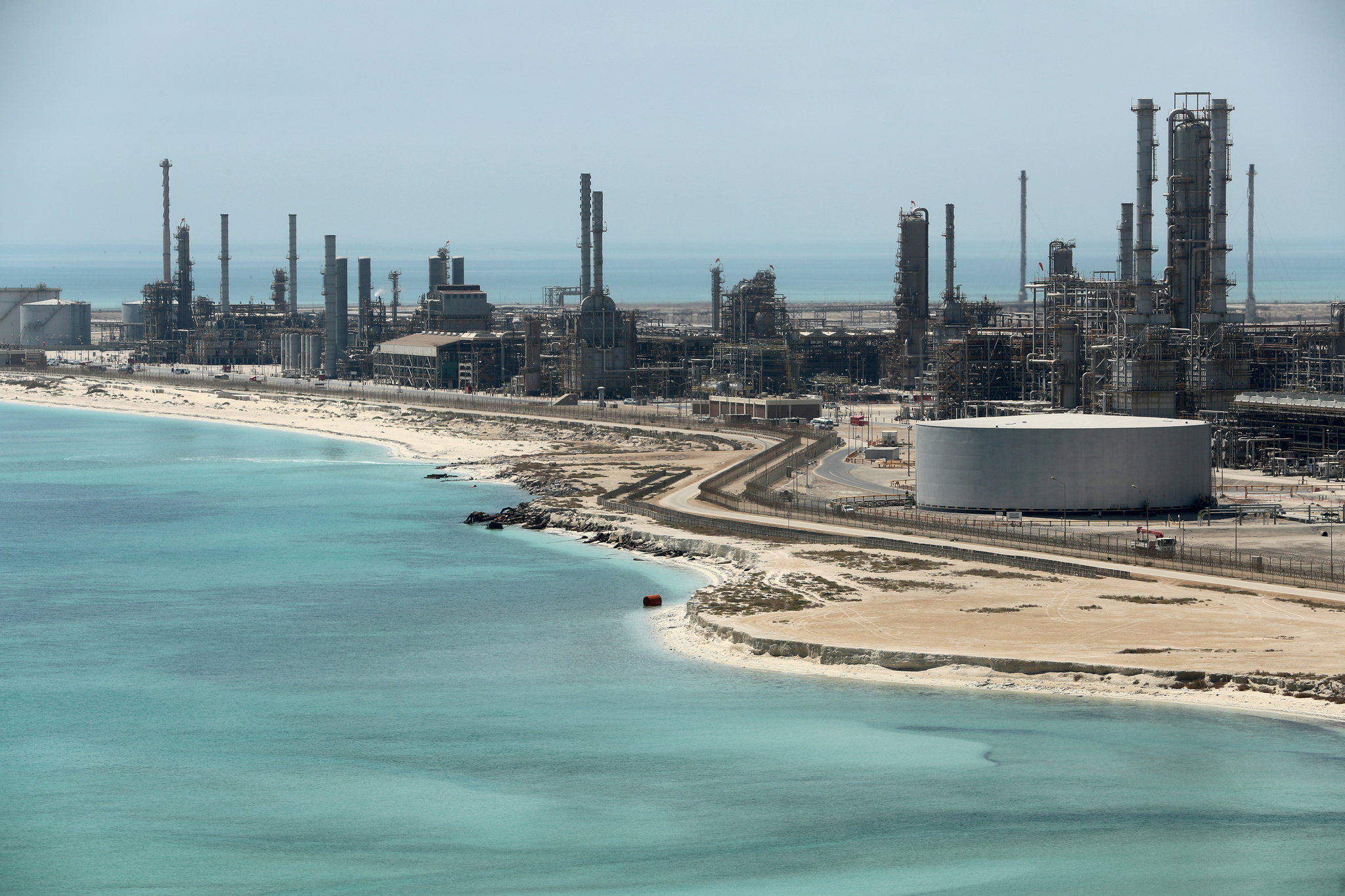 FILE PHOTO: General view of Saudi Aramco's Ras Tanura oil refinery and...