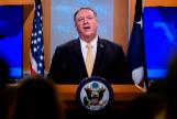 El secretario de Estado de Estados Unidos, Mike Pompeo, ofrece una rueda de prensa.